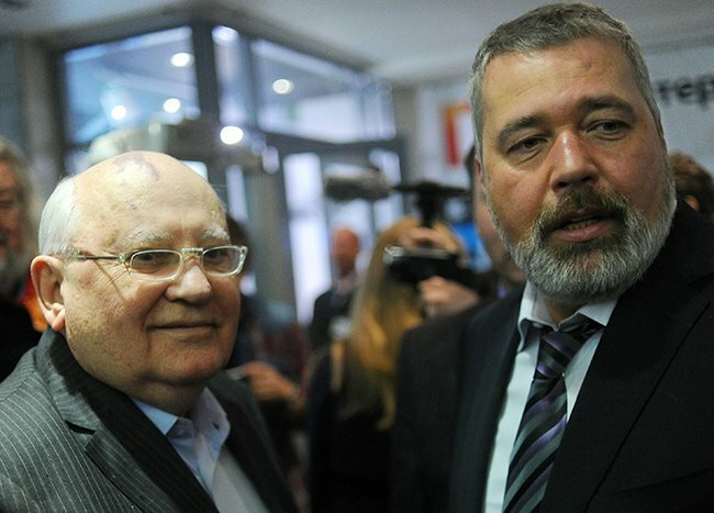 Gorbachev and Novaya Gazeta Editor in Chief Dmitry Muratov at an anniversary celebration for the publication. The former president of the USSR has been a shareholder in the newspaper since its founding. Moscow, April 2, 2013