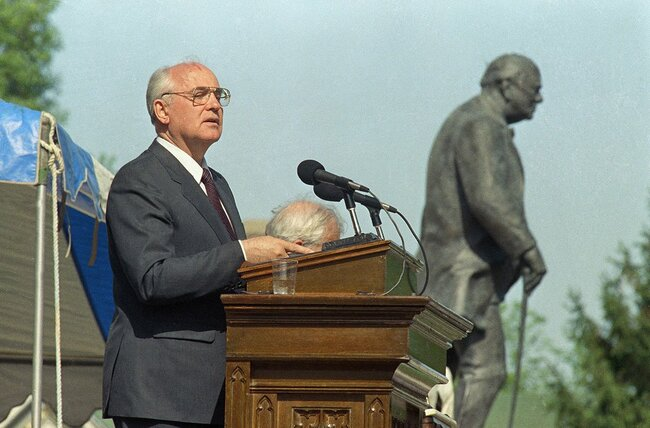 "Gorbachev speaks at Westminster College in Fulton, MO, where Winston Churchill gave the speech that popularized the term ""Iron Curtain."" May 6, 1992"