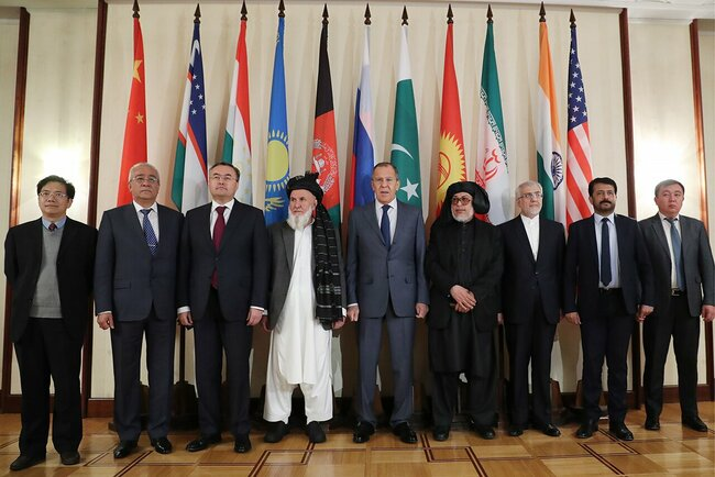 Participants in the Moscow negotiations concerning the Afghan conflict pose for a photo op. November 9, 2018