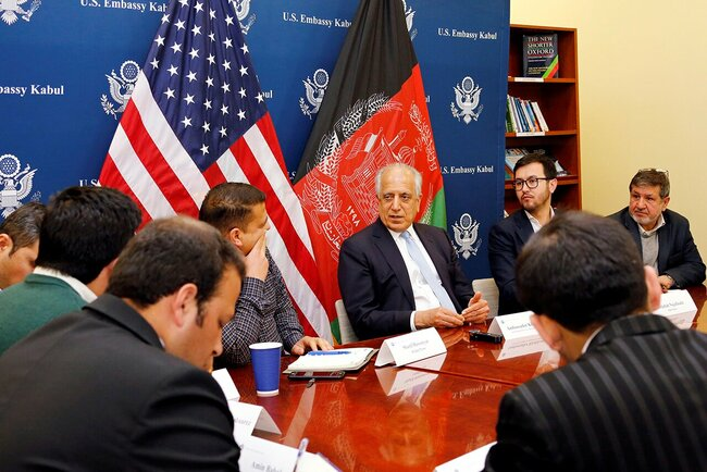 U.S. Special Representative for Afghanistan Reconciliation Zalmay Khalilzad in the American Embassy in Kabul, January 28, 2019