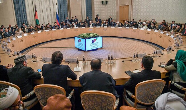 Negotiations about the Afghan conflict proceed in Moscow's President Hotel. February 5, 2019