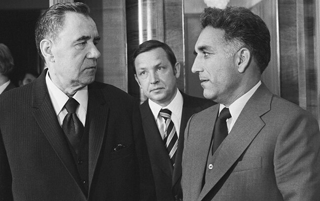 Soviet Foreign Affairs Minister Andrey Gromyko meets with his then-counterpart Hafizulla Amin of Afghanistan. May 18, 1979