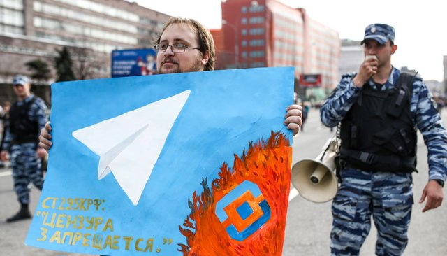 Internet freedom rally in Moscow, protesting a court ruling that blocked Telegram in Russia. April 13, 2018.