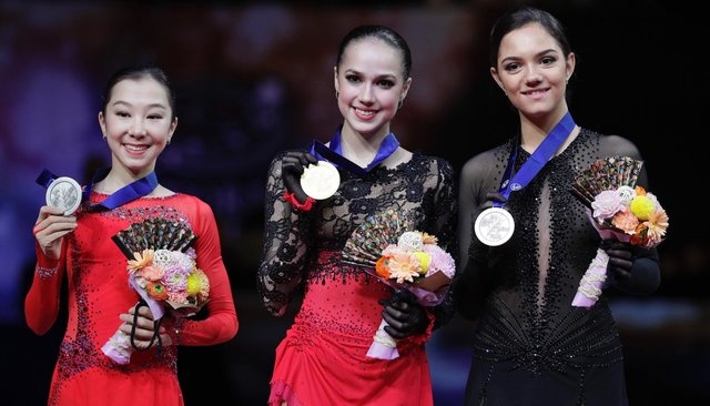 Elizabet Tursynbayeva (silver), Alina Zagitova (gold), and Evgenia Medvedeva (bronze) at the 2019 World Figure Skating Championships in Japan. March 22, 2019