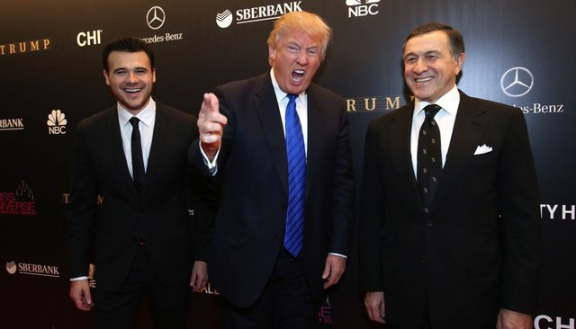 Emin Agalarov, Donald Trump, and Araz Agalarov arrive at the 2013 Miss Universe pageant final at Crocus City Hall. Moscow, November 9, 2013