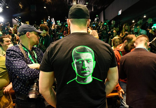 A member of Volodymyr Zelenskiy's team in the candidate's campaign headquarters.