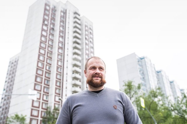 Russian March organizer Dmitry Demushkin stands in front of his apartment building in Brateyevo. Moscow, May 2019