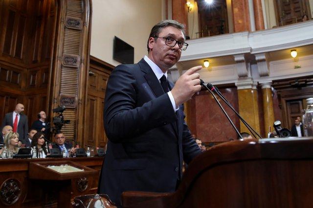 Президент Сербии Александр Вучич впарламенте, 27мая 2019 года