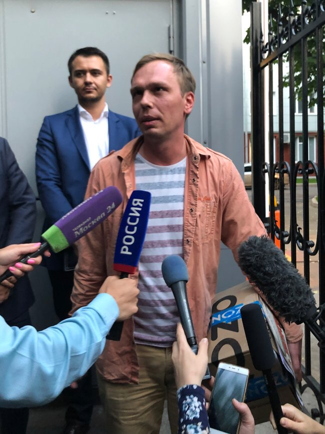 "On June 11, 2019, at approximately 8:54 local time, Ivan Golunov was released from police custody in Moscow. Russian penitentiary services said his electronic bracelet had been removed. Outside, <a href=""https://web.telegram.org/#/im?p=@GolunovForever"" target=""_blank"">crowds chanted ""Vanya! Vanya!""</a> and cheered. Golunov was arrested on June 6 and accused of drug possession with intent to distribute. After an unprecedented solidarity campaign and a brief period of house arrest, the charges against him were dropped on June 11."