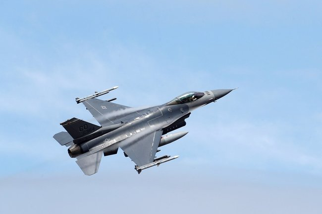 An American F-16 Fighting Falcon jet.