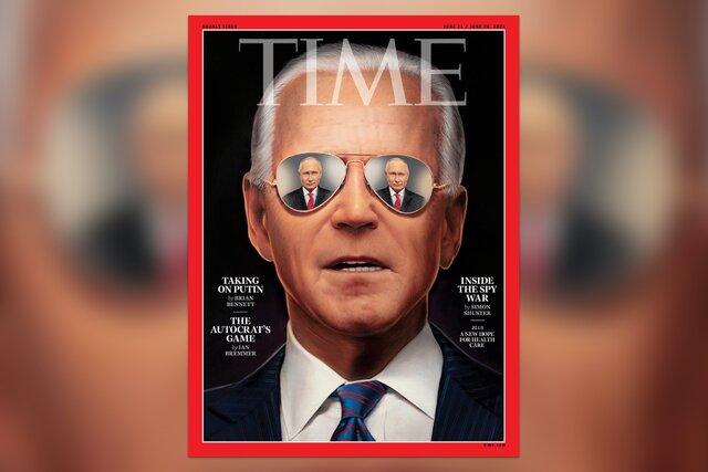 Журнал Time поместил на обложку Путина. Он отражается в очках у Байдена