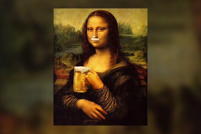 В Самаре ФАС счел непристойной рекламу с Моной Лизой. Эксперты обнаружили следы пивной пены на ее губах