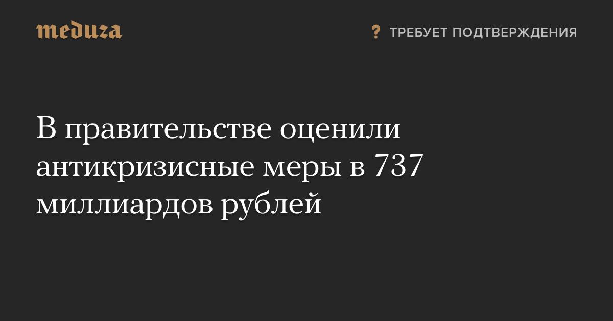 В правительстве оценили антикризисные меры в 737 миллиардов рублей