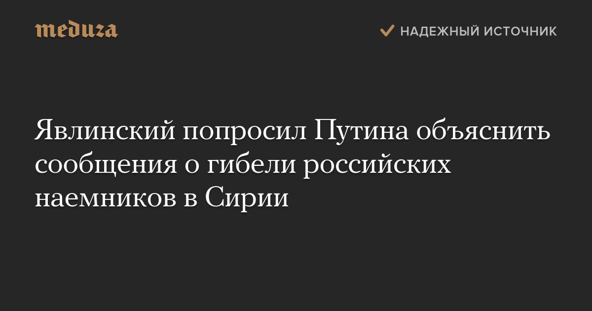 Явлинский попросил Путина объяснить сообщения огибели российских наемников вСирии — Meduza