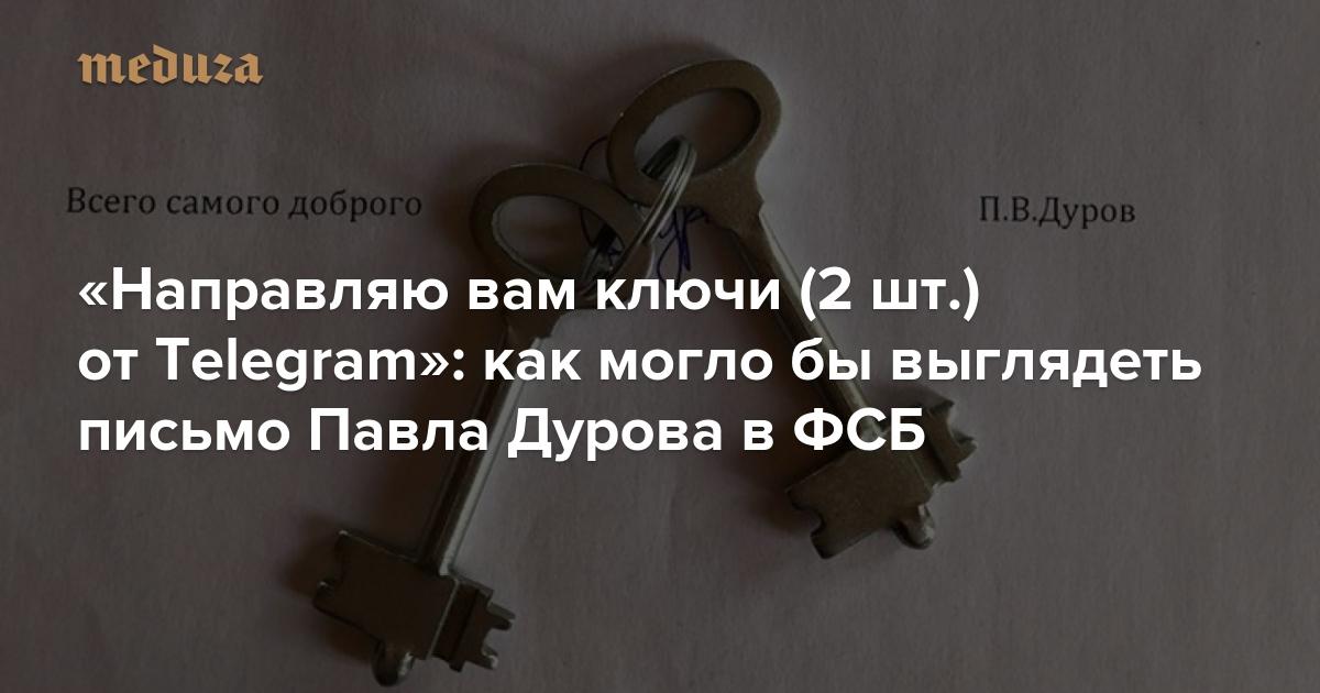 «Направляю вам ключи (2 шт.) отTelegram»: как моглобы выглядеть письмо Павла Дурова вФСБ — Meduza