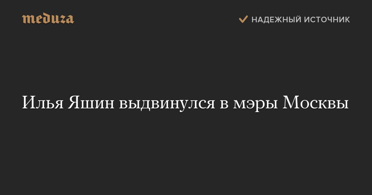 Илья Яшин выдвинулся вмэры Москвы — Meduza