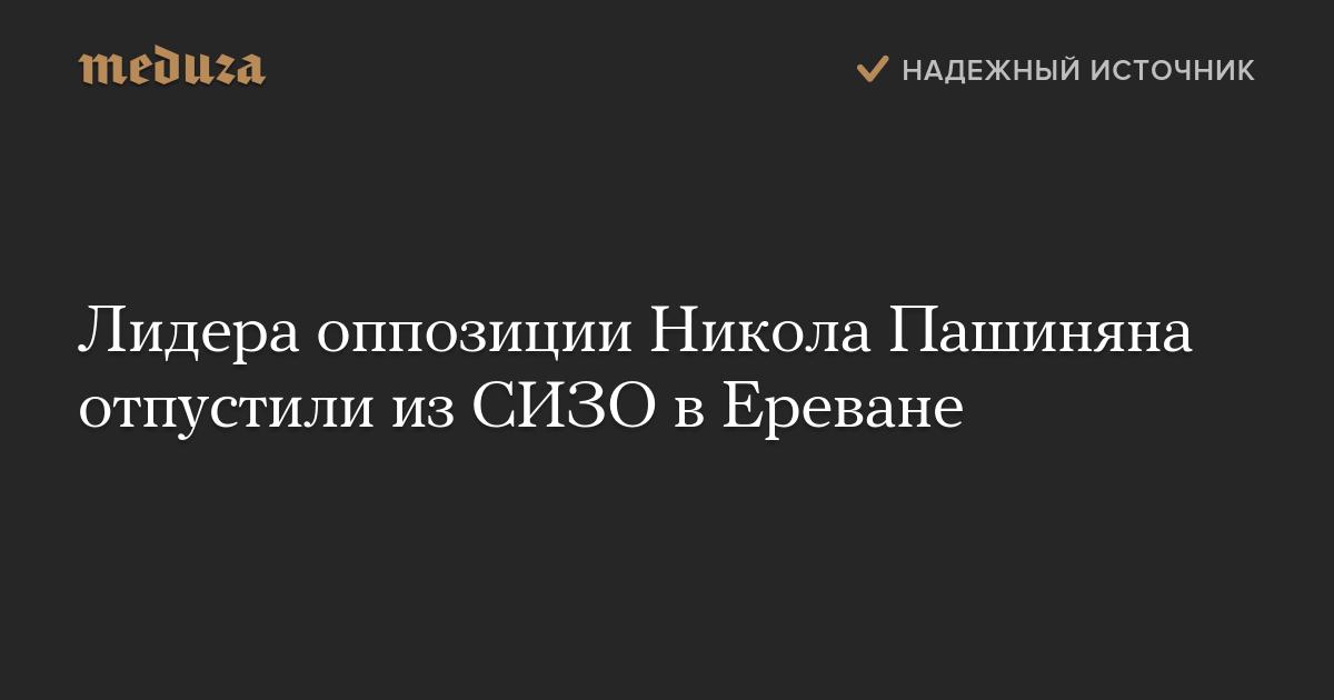 Лидера оппозиции Никола Пашиняна отпустили изСИЗО вЕреване