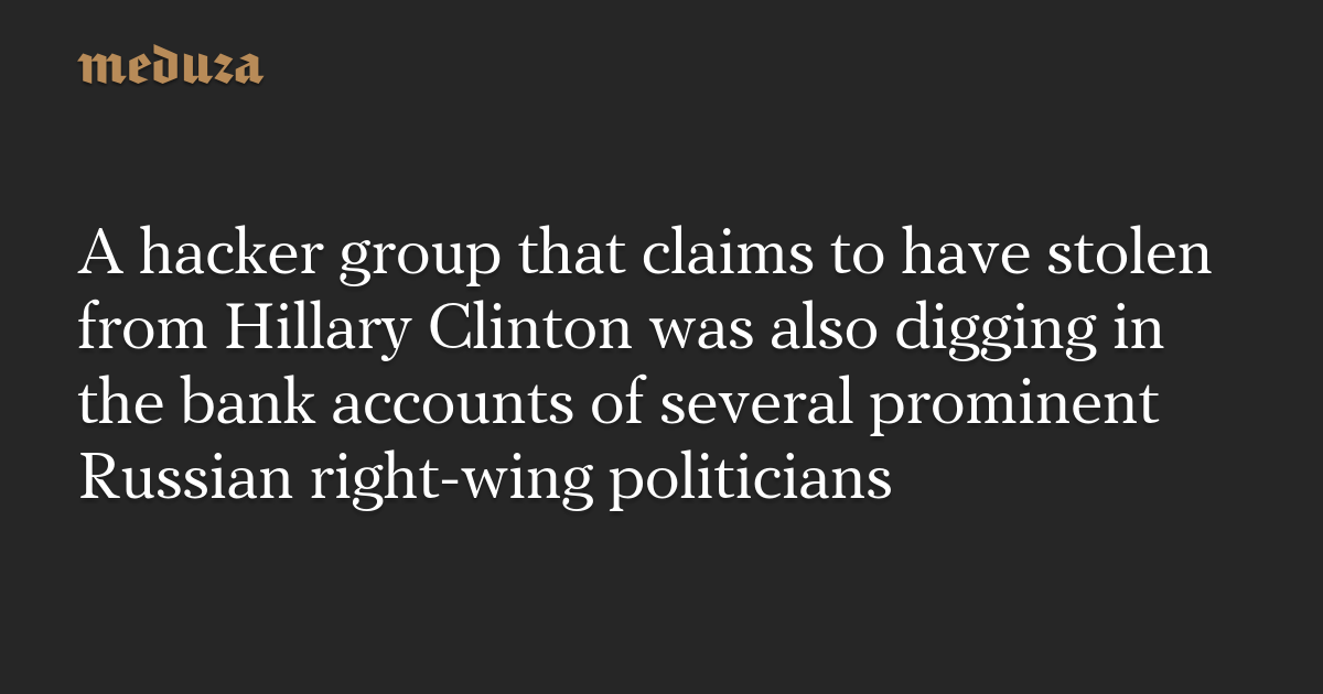 A hacker group that claims to have stolen from Hillary