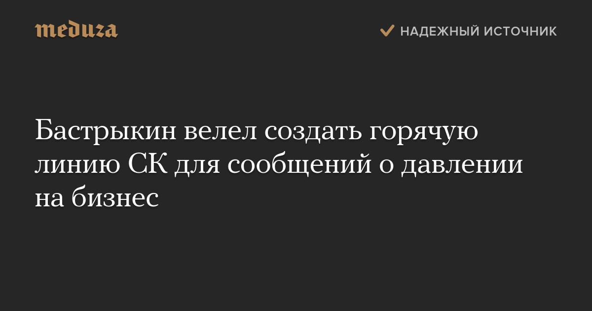 Бастрыкин велел создать горячую линию СКдля сообщений одавлении набизнес