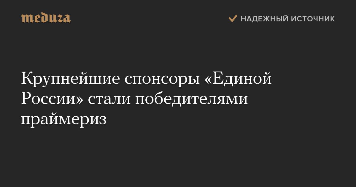 Крупнейшие спонсоры «Единой России» стали победителями праймериз — Meduza