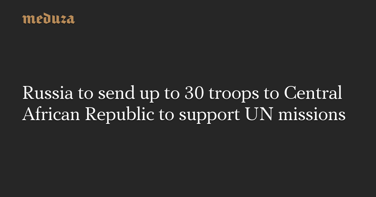 Russia to send up to 30 troops to Central African Republic to support UN missions