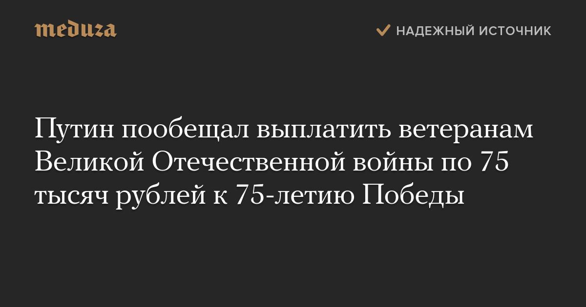 Путин пообещал выплатить ветеранам Великой Отечественной войны по75 тысяч рублей к75-летию Победы photo