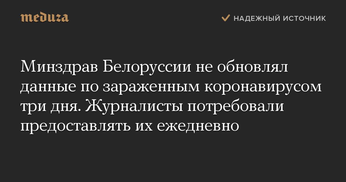 Минздрав Белоруссии необновлял данные позараженным коронавирусом тридня. Журналисты потребовали предоставлять ихежедневно