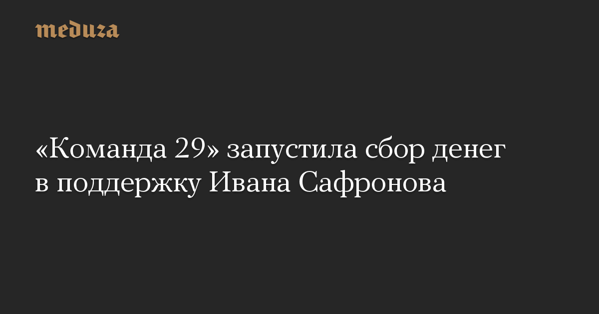 «Команда 29» запустила сбор денег вподдержку Ивана Сафронова