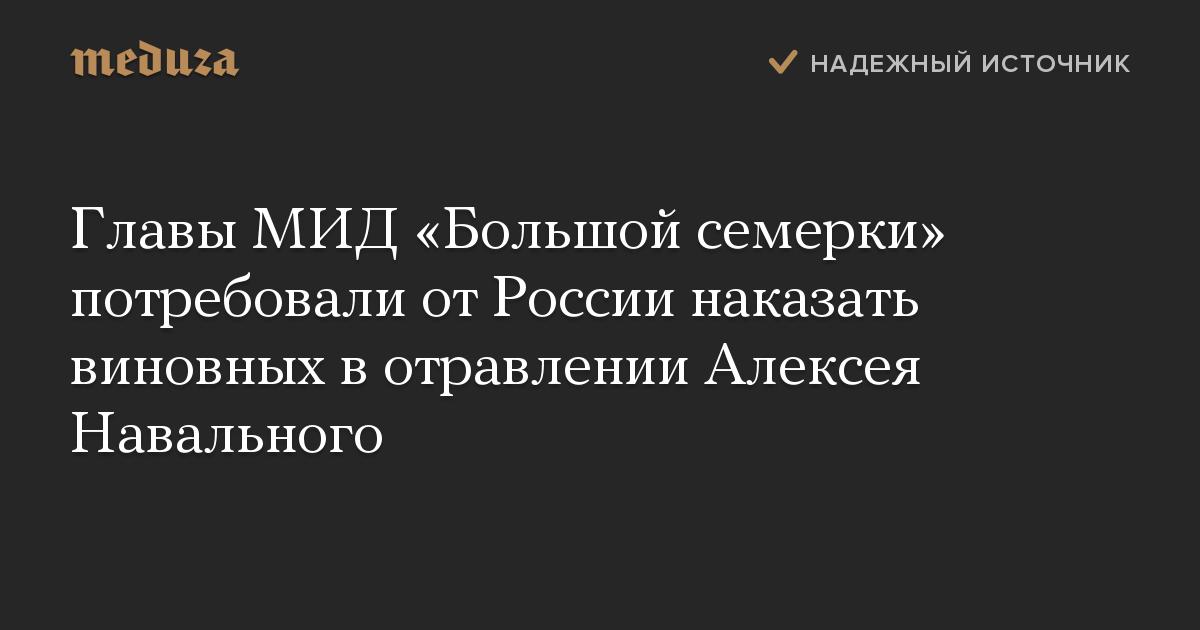 Главы МИД «Большой семерки» потребовали отРоссии наказать виновных вотравлении Алексея Навального