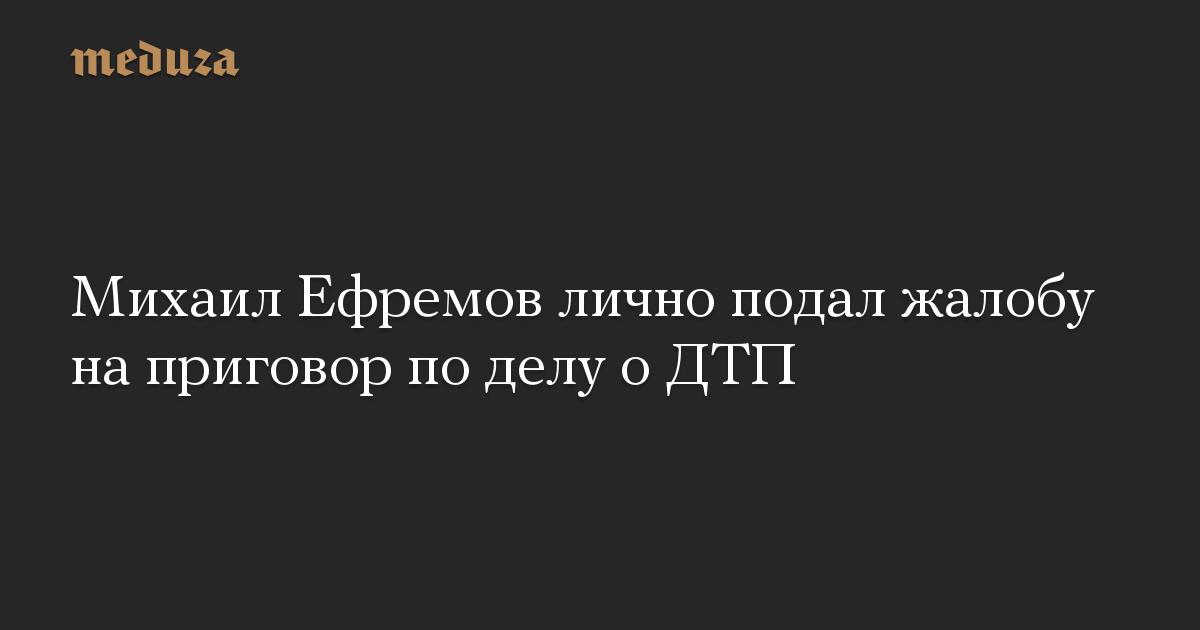 Ефремов подал в суд личную жалобу на приговор