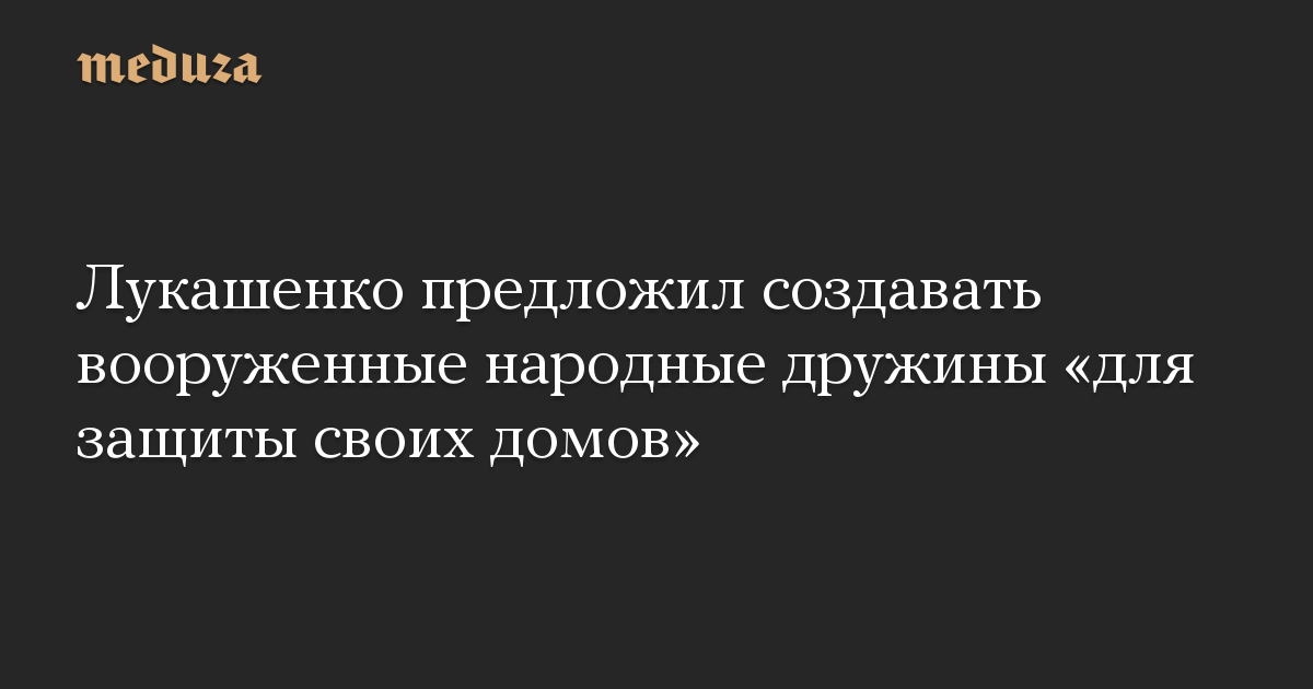 Лукашенко предложил создавать вооруженные народные дружины «для защиты своих домов» — Meduza