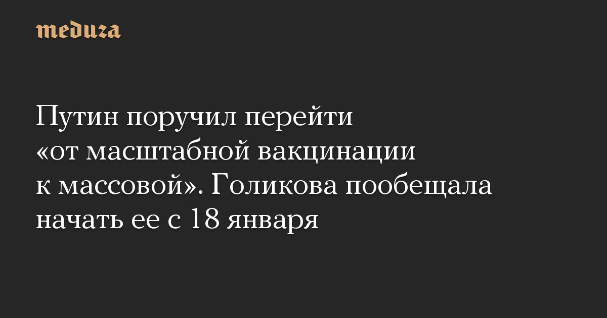 Путин поручил перейти от масштабной вакцинации к массовой. Голикова пообещала начать ее с 18 января