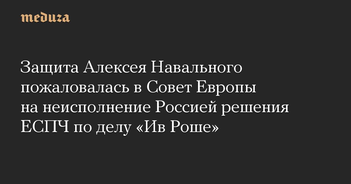 Защита Алексея Навального пожаловалась в Совет Европы на неисполнение Россией решения ЕСПЧ по делу Ив Роше