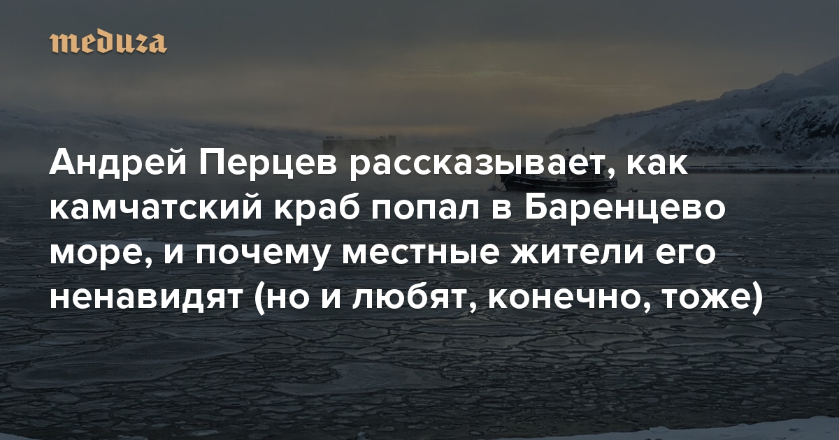 Тынепограничник, ты— крабоничник. Спецкор «Медузы» Андрей Перцев рассказывает, как камчатский краб попал вБаренцево море, ипочему местные жители его ненавидят (ноилюбят, конечно, тоже)