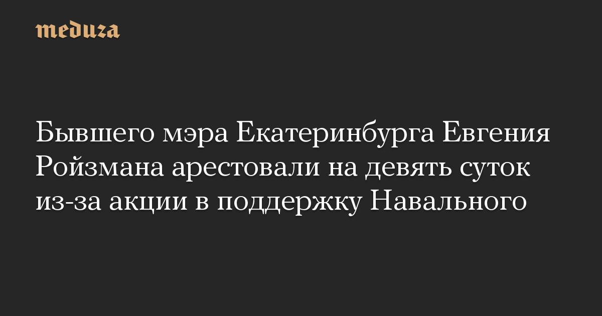 Бывшего мэра Екатеринбурга Евгения Ройзмана арестовали надевять суток из-за акции вподдержку Навального