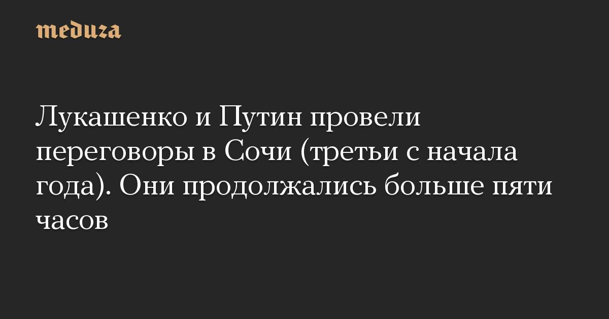 Лукашенко и Путин провели переговоры в Сочи (третьи с начала года). Они продолжались больше пяти часов