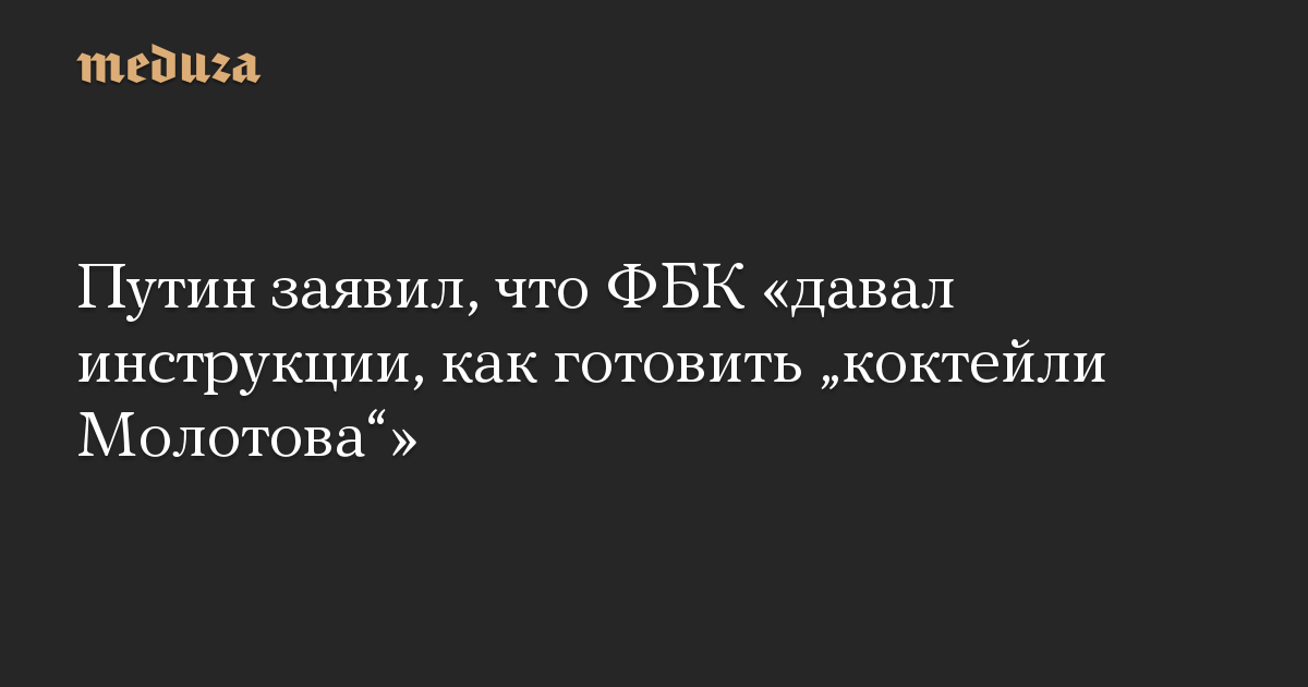 Путин заявил, что ФБК давал инструкции, как готовить коктейли Молотова