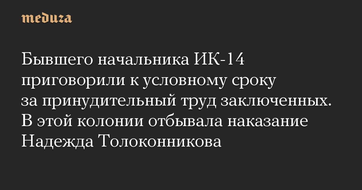 Бывшего начальника ИК-14 приговорили к условному сроку за принудительный труд заключенных. В этой колонии отбывала наказание Надежда Толоконникова