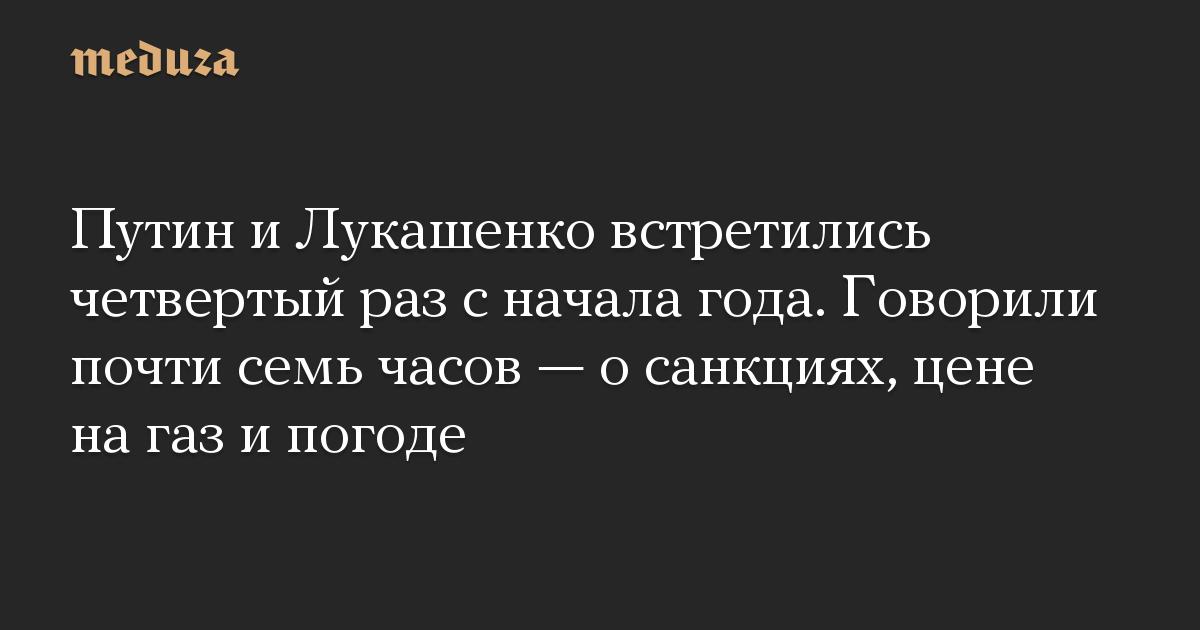 Путин и Лукашенко встретились четвертый раз с начала года. Говорили почти семь часов  о санкциях, цене на газ и погоде