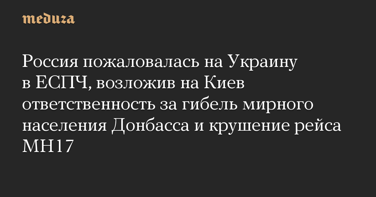 Россия пожаловалась на Украину в ЕСПЧ, возложив на Киев ответственность за гибель мирного населения Донбасса и крушение рейса MH17