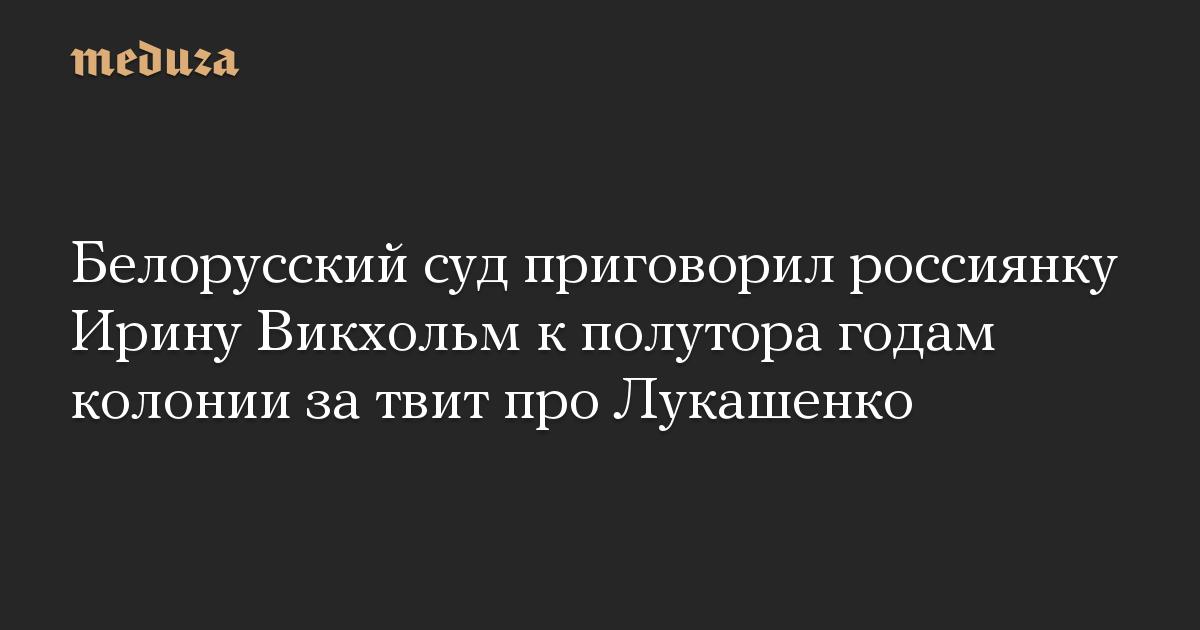 Белорусский суд приговорил россиянку Ирину Викхольм кполутора годам колонии затвит про Лукашенко