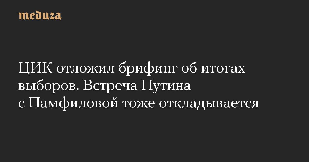 ЦИК отложил брифинг обитогах выборов. Встреча Путина сПамфиловой тоже откладывается