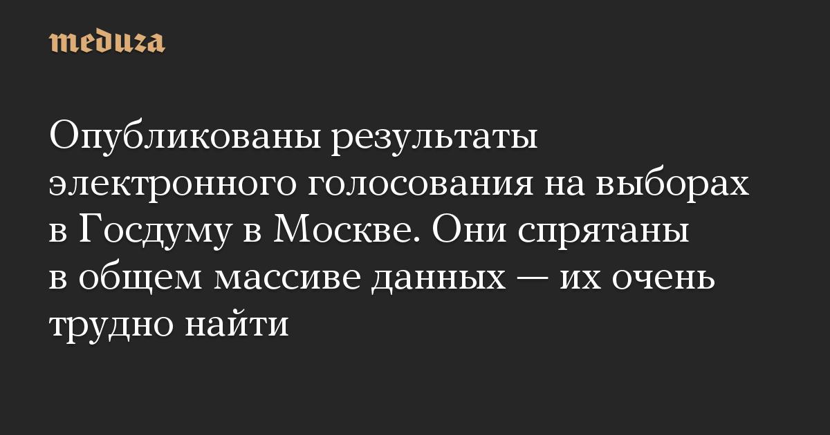 Опубликованы результаты электронного голосования навыборах вГосдуму вМоскве
