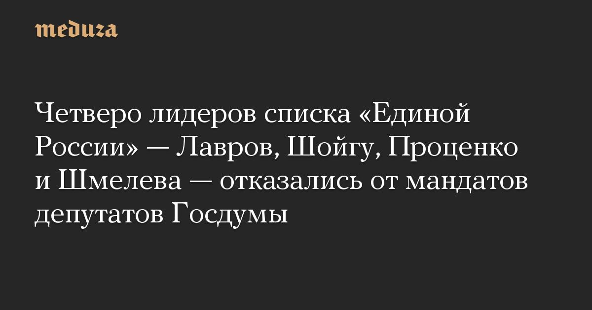 Четверо лидеров списка Единой России  Лавров, Шойгу, Проценко и Шмелева  отказались от мандатов депутатов Госдумы