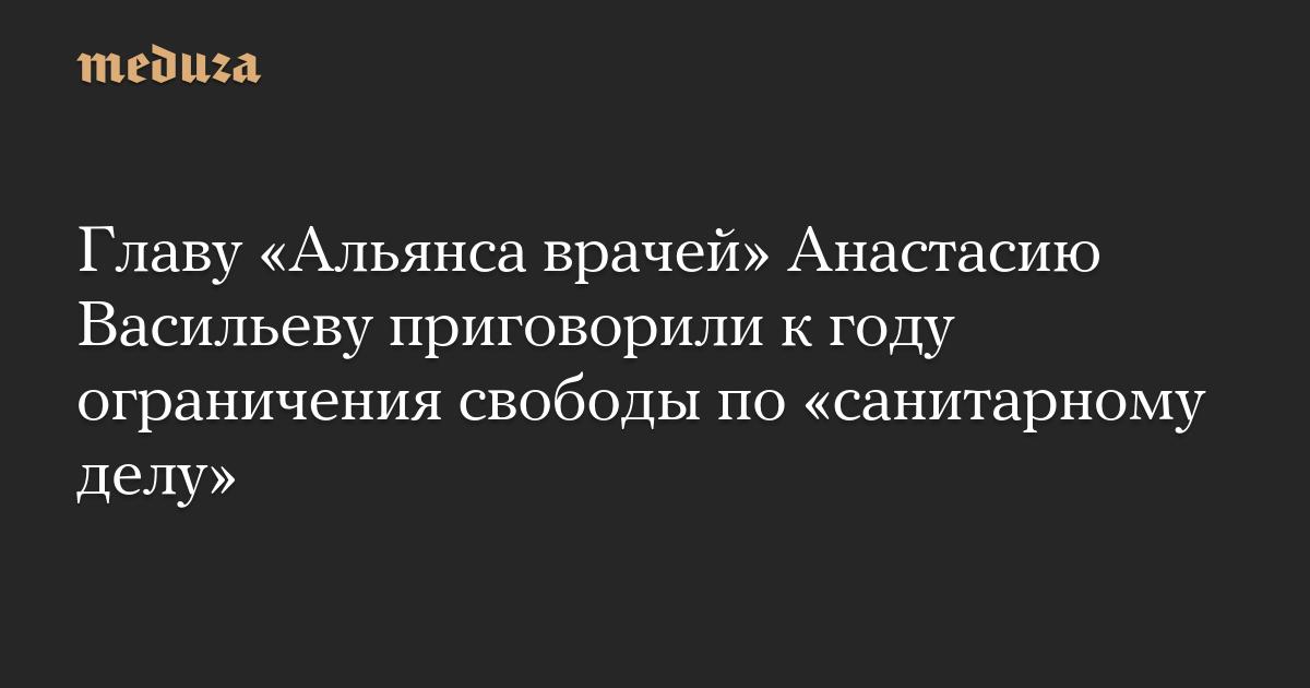 Главу Альянса врачей Анастасию Васильеву приговорили к году ограничения свободы по санитарному делу