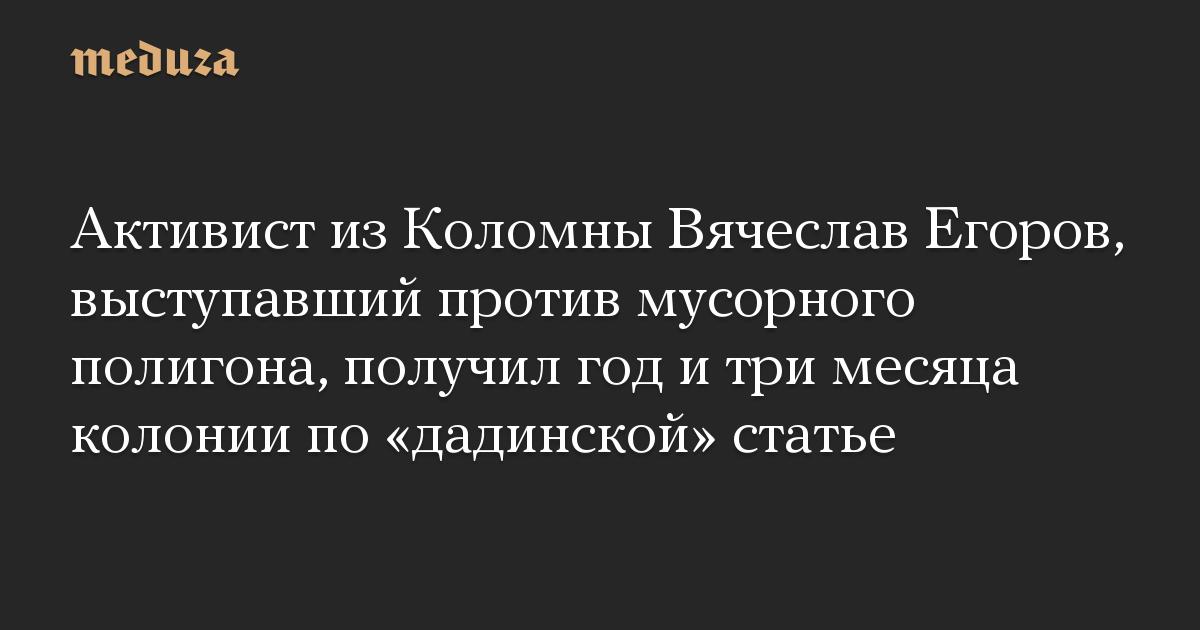 Активист из Коломны Вячеслав Егоров, выступавший против мусорного полигона, получил год и три месяца колонии по дадинской статье