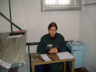 Nadezhda Tolokonnikova in a single confinement cell at her penal colony in the village of Partza. September 25, 2013.