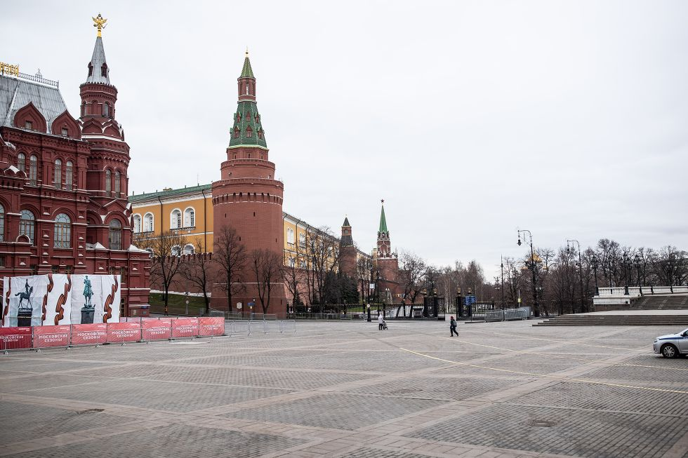 Manezhnaya Square in Moscow on March 30, 2020
