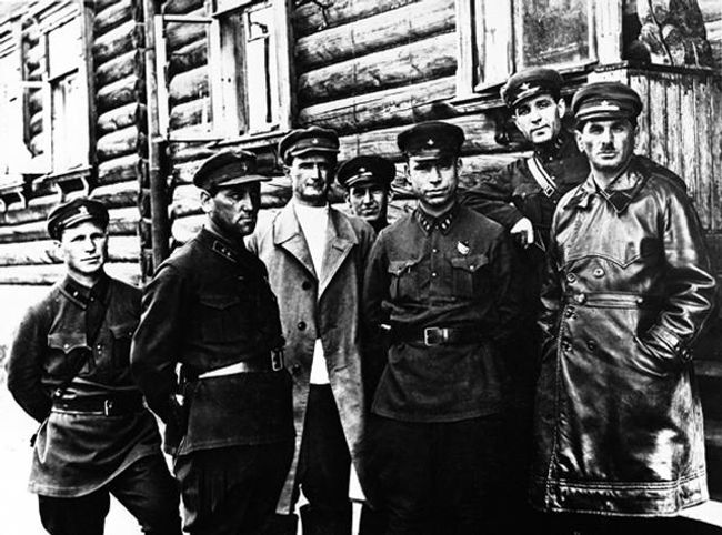 From right to left in the front row: Naftaly Frenkel, Belomorkanal's chief manager of construction, Matvei Berman, head of the Gulag, and Afanasev, head of the southern division of the White Sea Canal camp.