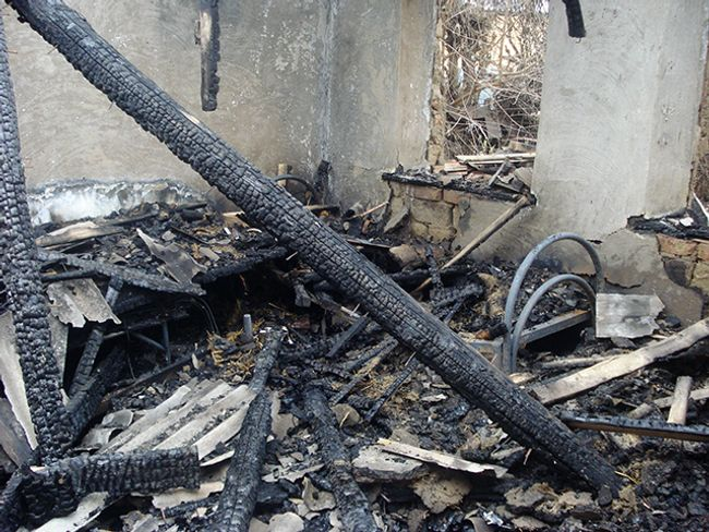 Burned family home of Imran Utsimiev, in the village of Alpatovo, in the Naur district of Chechnya